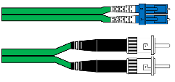 LC/ST Duplex Single Mode Fiber Patch Cable 2mm Green 1M