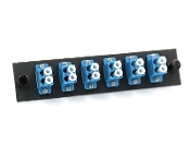 LC 12 Port Plate, Singlemode w/ 6 LC Blue Duplex Adapters