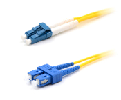 LC to SC Duplex Single Mode Fiber Optic Patch Cable - Yellow 1M