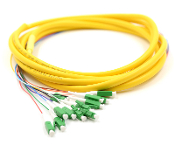 LC-APC Jacketed 12Pk SM Yellow Jacketed Fiber Pigtails, 3 Meters