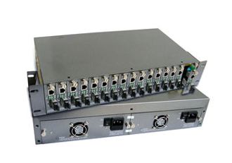 14 Port Chassis Media Converter 110V(dual power)