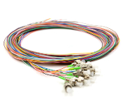 FC/APC 12 Fiber SM Multi Color Fiber Optic Pigtails, 3 Meters