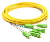 SC/APC Jacketed 6Pk SM Yellow Jacketed Fiber Pigtails, 3 Meters